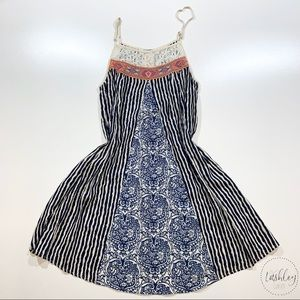 Flying Tomato Navy&Cream Striped Sleeveless Dress